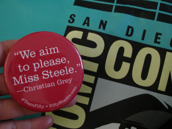 SDCC Fifty Shades button and SDCC bag